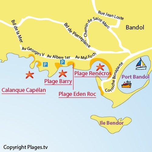 Mappa della Calanque del Capélan di Bandol