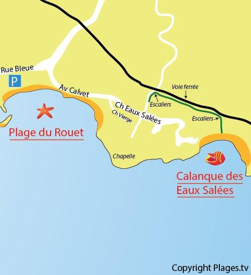 Map of Calanque Eaux Salées in Carry le Rouet