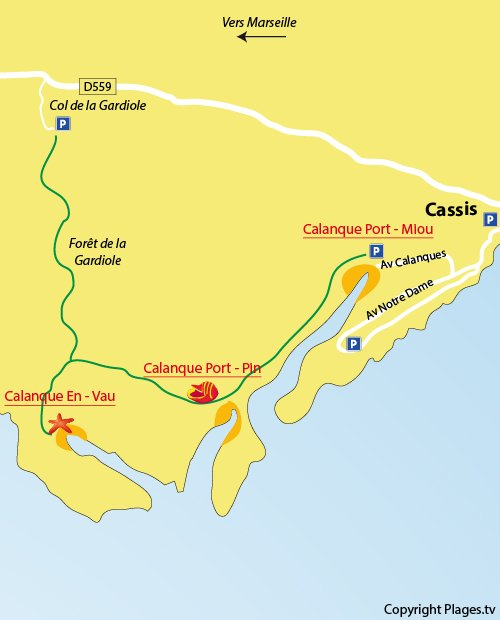 Map of calanque d'En Vau in Marseille