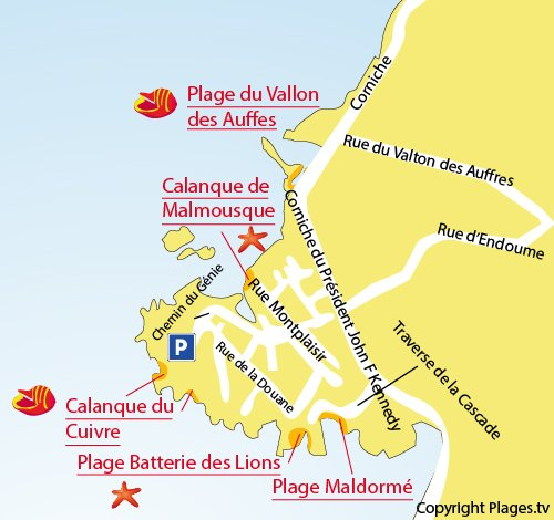 Map of Calanque de Malmousque in Marseille
