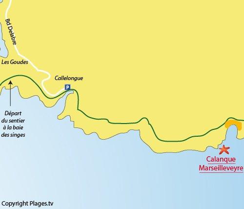 Map of calanque de Marseilleveyre in Marseille