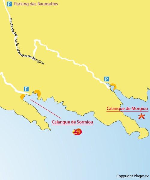 Mappa della Calanque Morgiou di Marsiglia - Francia