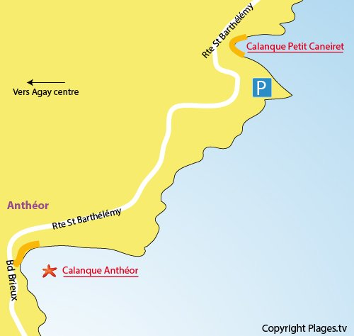 Map of Petit Caneiret Cove in Agay