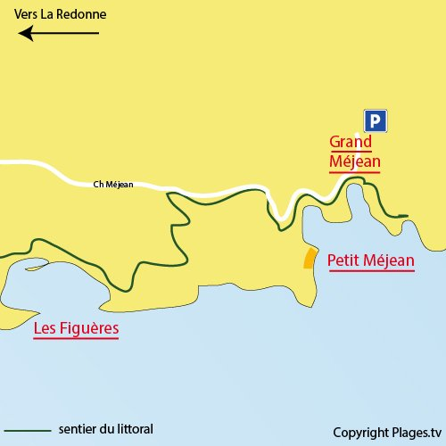 Map of Calanque of Petit Méjean - Blue Coast in France