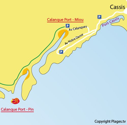 Map of Port Miou Calanque in Cassis