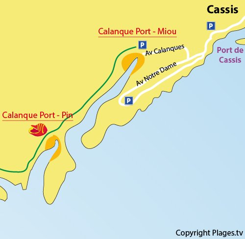Map of calanque de Port Pin in Marseille