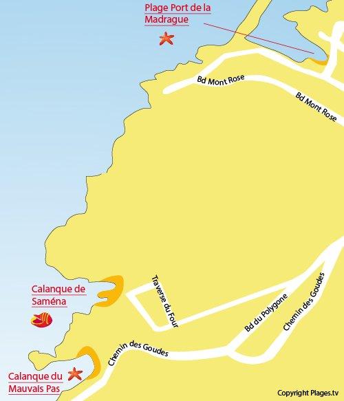 Carte de la calanque de Saména à Marseille