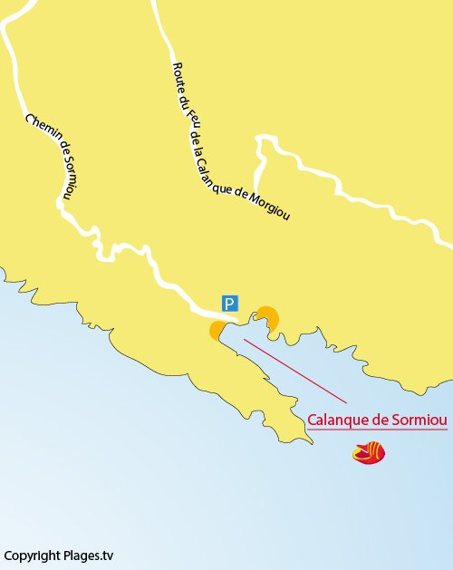 Map of Sormiou calanque in Marseille