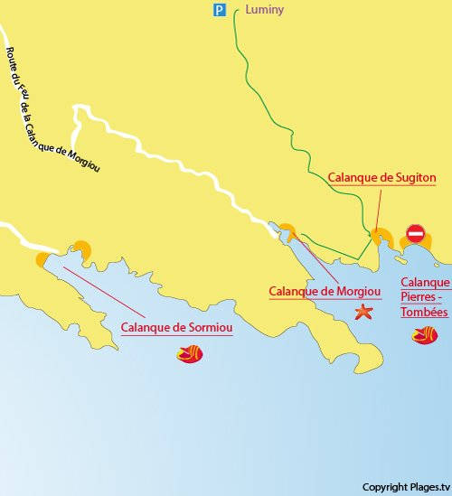 Carte de la calanque de Sugiton à Marseille