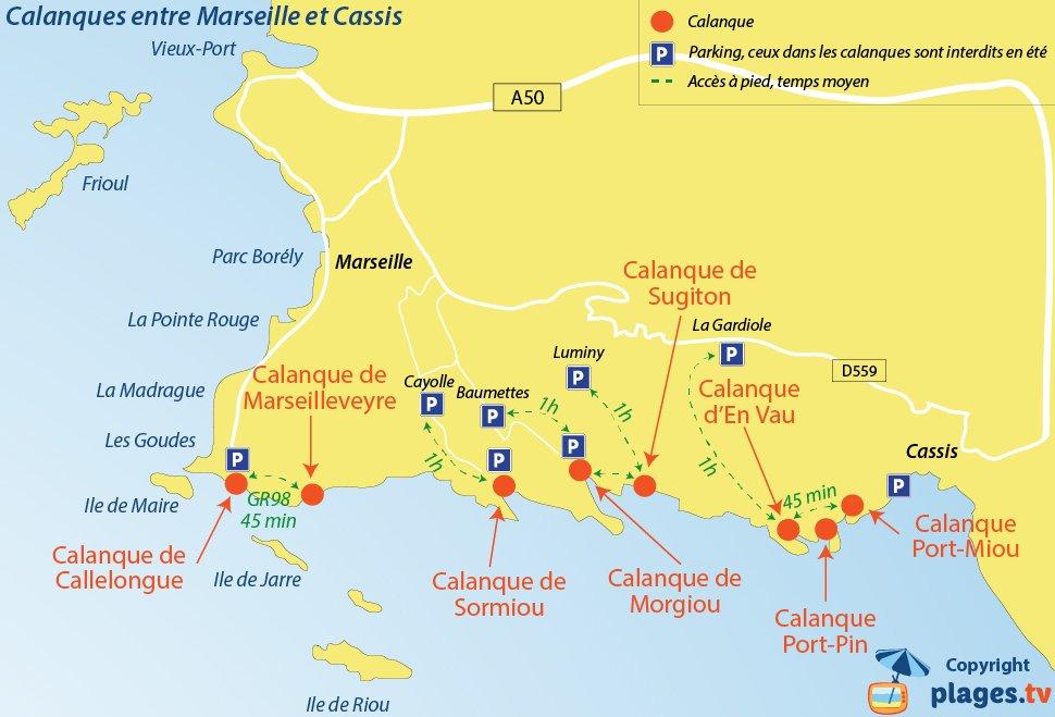 Plan des calanques entre Marseille et Cassis