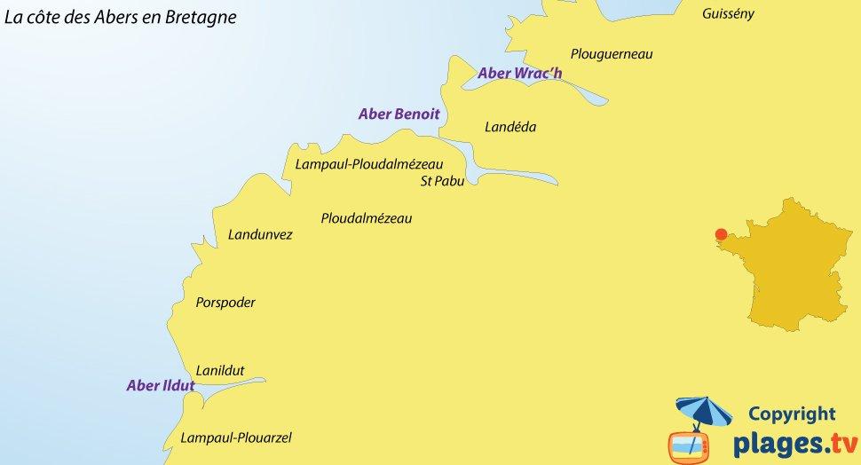 Plan de la côte des Abers en Bretagne - Plages et villes balnéaires
