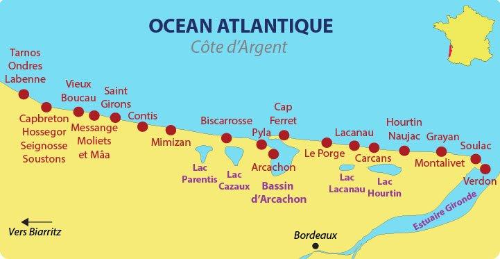Plan de la Côte d'Argent avec les principaux lacs