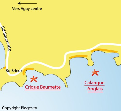 Map of Baumette Cove in Agay St Raphaël