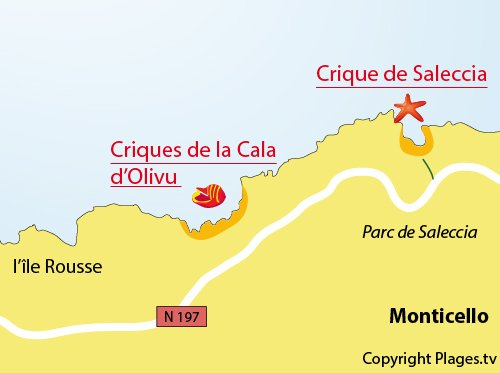 Mappa of Cala d'Olivu Creek in Monticello
