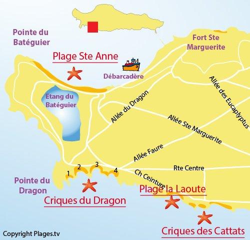 Plan d'accès aux criques de Cattats sur les iles de Lérins (Ste Marguerite)