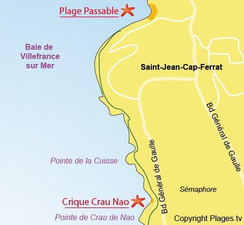 Map of Crau de Nao Beach in Saint Jean Cap Ferrat