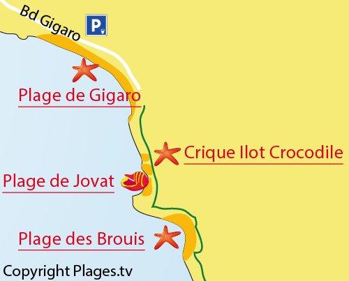 Plan de la crique de l'ilot du Crocodile à La Croix Valmer