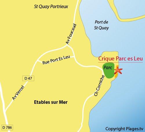 Carte de la crique de Parc es Leu d'Etables sur Mer