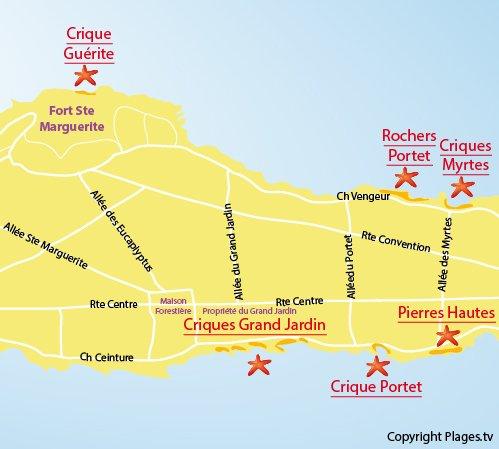 Carte de la plage des Pierres Hautes sur les Iles de Lérins