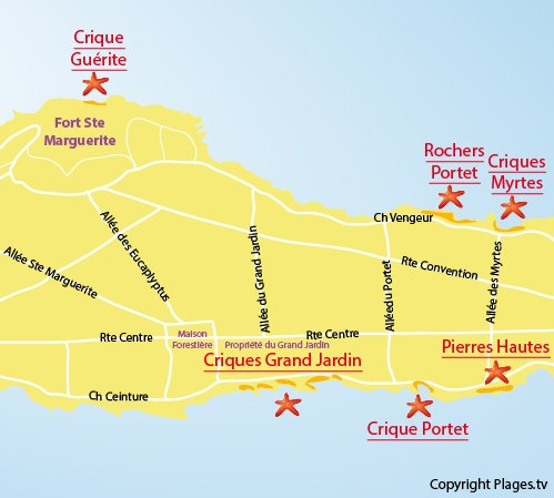 Map of Pierres Hautes Beach - Iles de Lérins