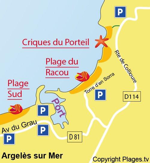 Mappa della Cala di Porteil a Argelès sur Mer