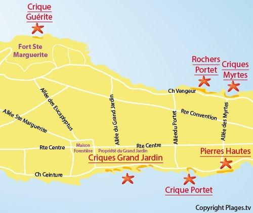 Plan de la crique du Portet sur les Iles de Lérins - Ste Marguerite