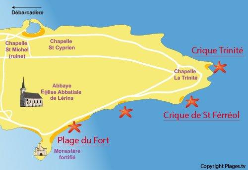 Plan de la crique de St Féréol sur l'ile de Saint Honorat