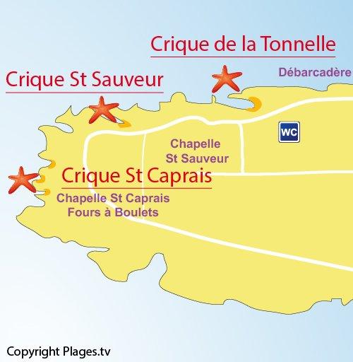 Plan de la crique St Sauveur sur l'île de Saint Honorat