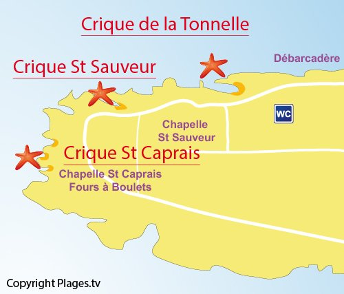 Map of Tonnelle Cove in St Honorat island