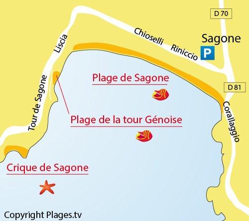 Plan de la plage de la Tour Génoise à Sagone