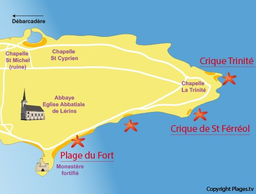 Map of Trinité Cove in Saint Honorat island