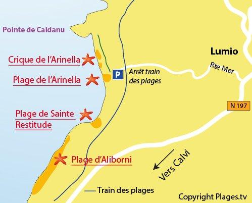 Map of Arinella Creek in Lumio - Corsica