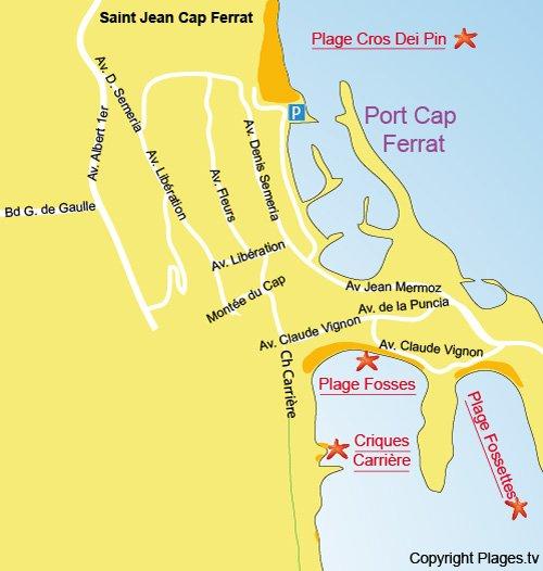 Map of Carriere Coves in Saint Jean Cap Ferrat