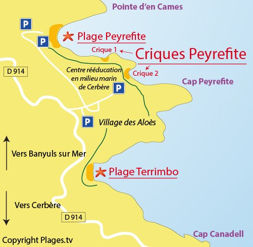 Map of Peyrefite Cove in Cerbère