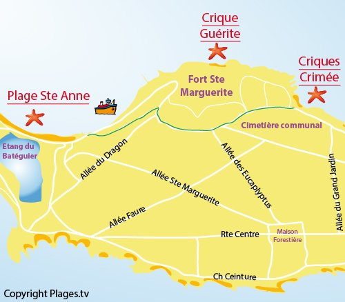 Map of Crimée Cove - Lérins island