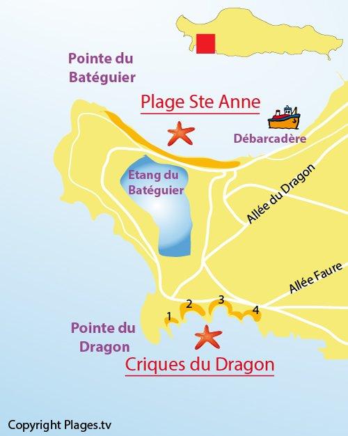 Plan des criques du Dragon aux Iles de Lérins - Ste Marguerite