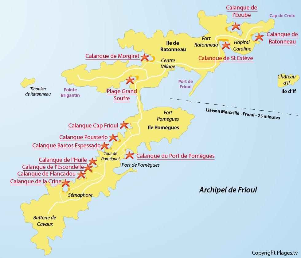 Wonderful Restaurant Ile Du Frioul #9: Plan De Frioul Avec Les Différentes Calanques