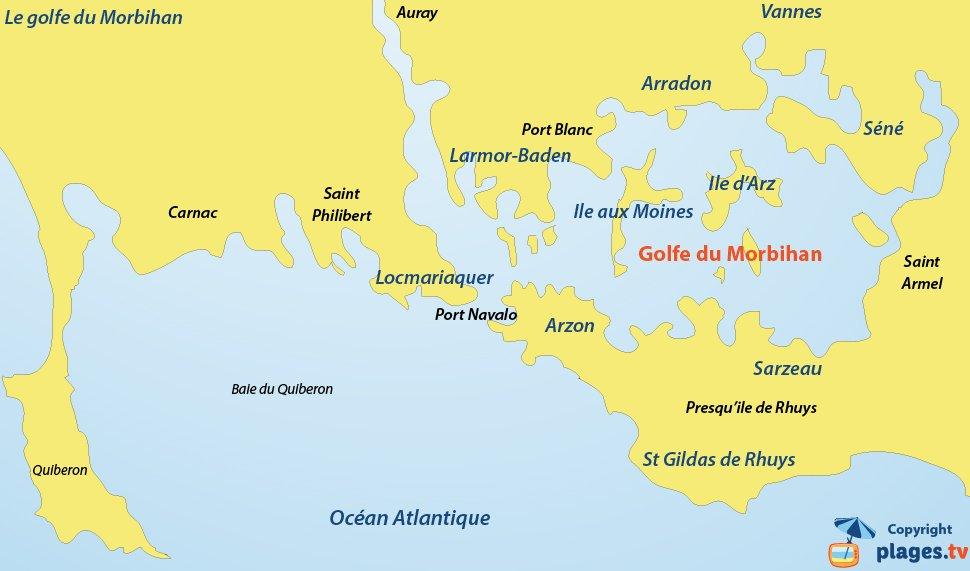 Plan du golfe du Morbihan - Bretagne