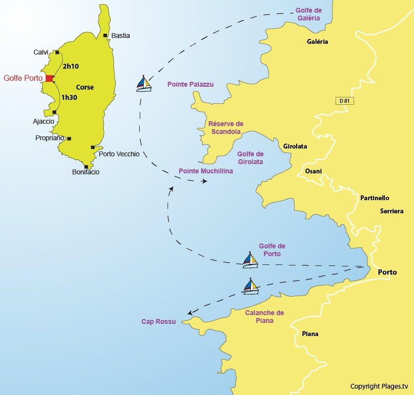 Plan du golfe de Porto - Réserve de Scandola et calanches de Piana