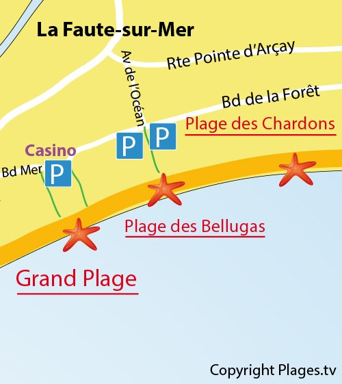 Carte de la Grand Plage de La Faute sur Mer