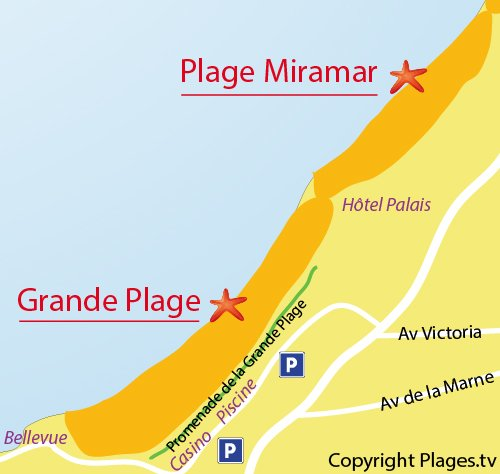 Map of Grande Beach in Biarritz
