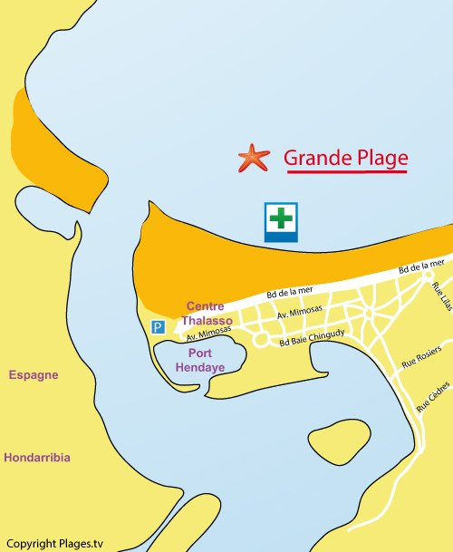 Map of the main beach of Hendaye in France