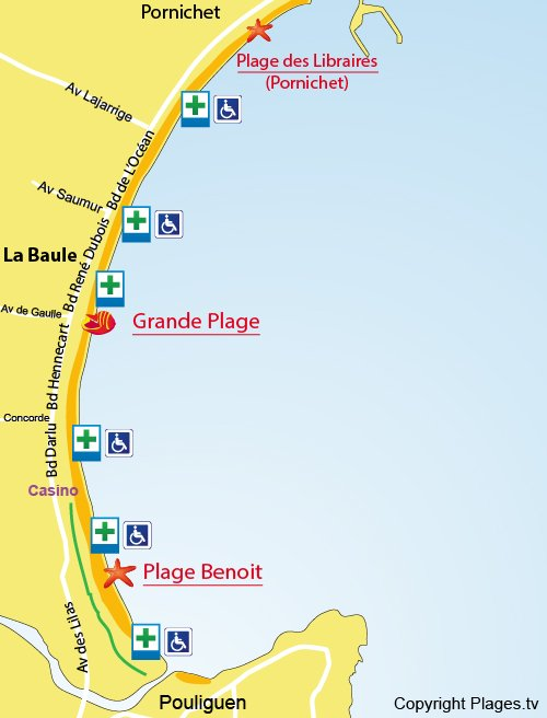 Map of La Baule beach in France