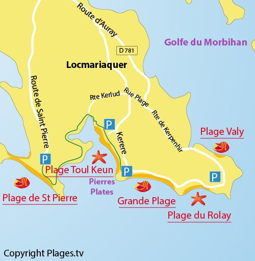 Plan de la Grande Plage de Locmariaquer - Bretagne