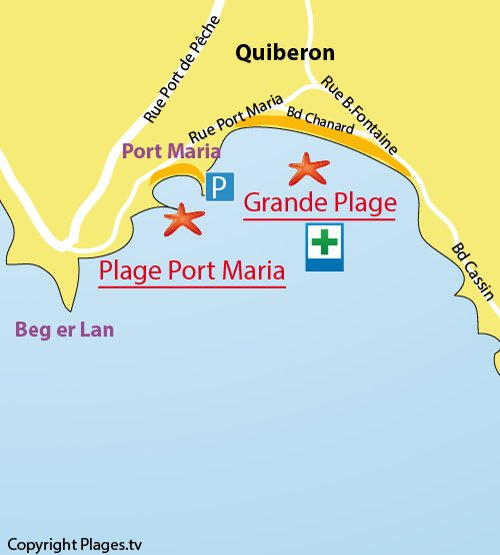 Map of Grande Plage in Quiberon