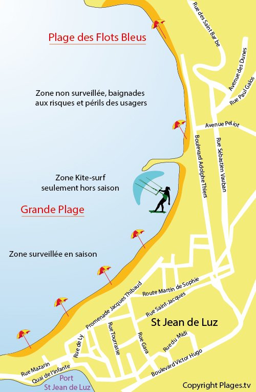 Map of Grande Beach in St Jean de Luz