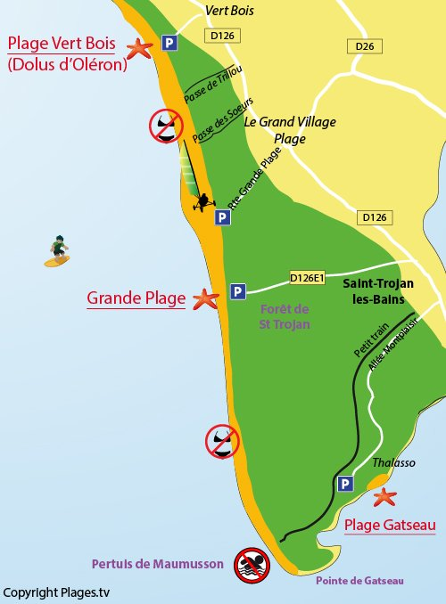 Map of Grande plage in St Trojan les Bains in Oléron