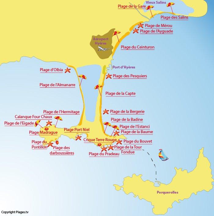 Plan du littoral de Hyères