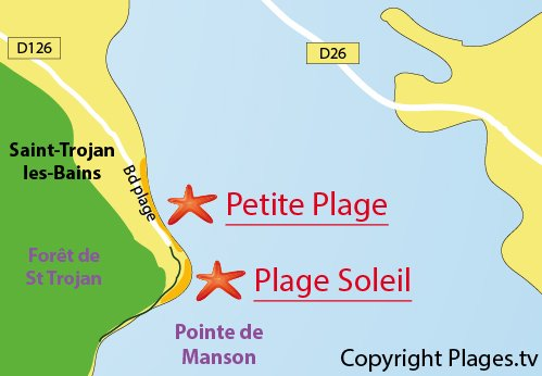 Map of Petite Plage in St Trojan les Bains in France