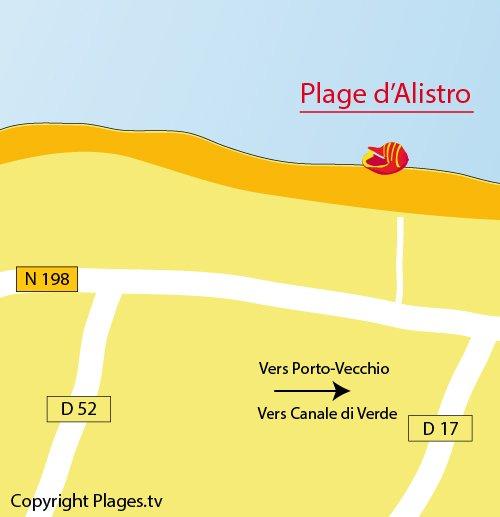 Plan de la plage d'Alistro à San Giuliano en Corse
